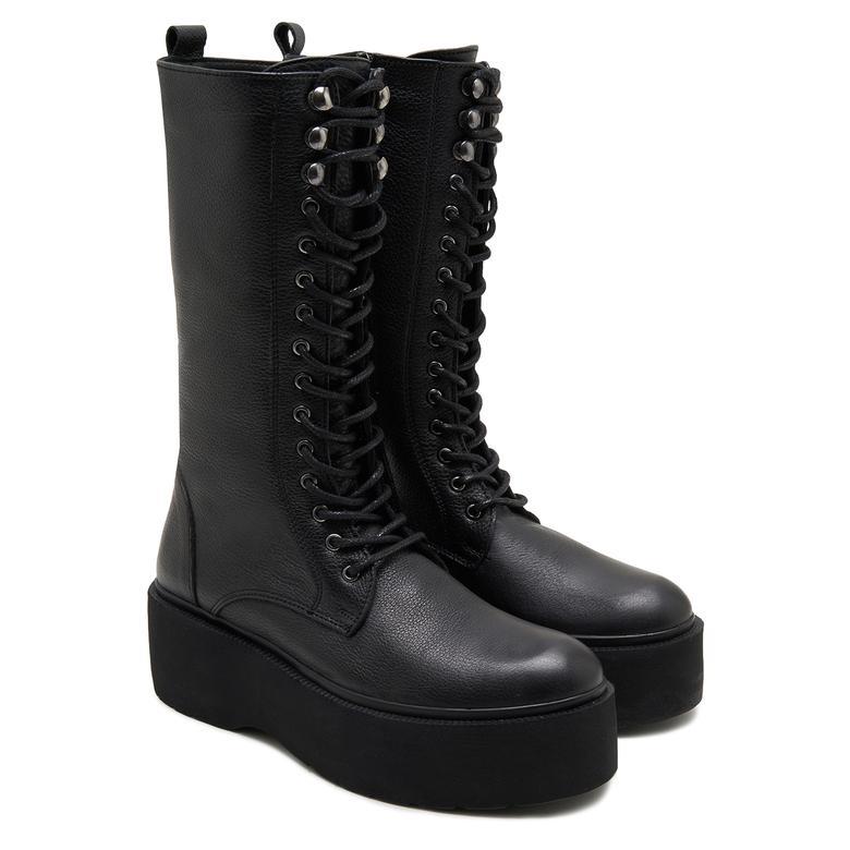 Hutch Siyah Kadın Deri Çizme 2010047834004