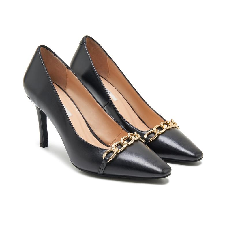 Renee Siyah Kadın Zincir Detaylı Deri Klasik Ayakkabı 2010048018002