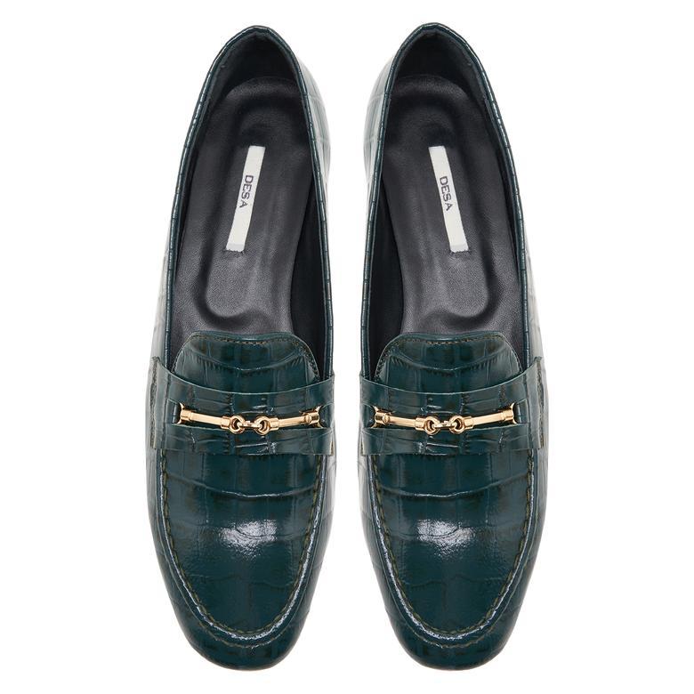 Palmera Yeşil Kadın Deri Loafer Günlük Ayakkabı 2010047958006