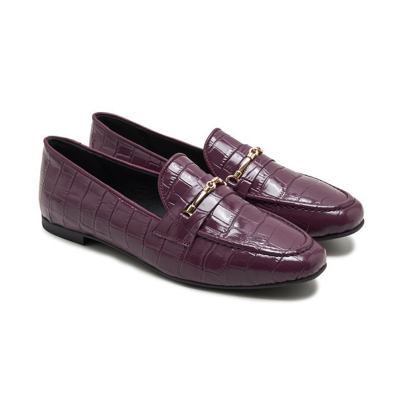 Palmera Mürdüm Kadın Deri Loafer Günlük Ayakkabı 2010047958013