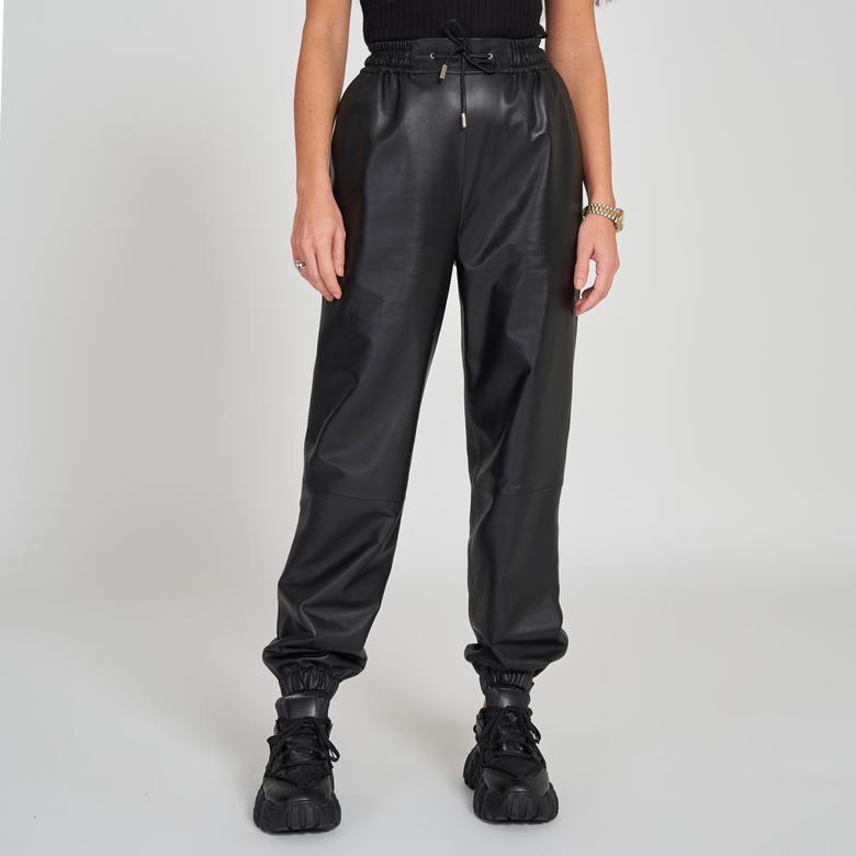 Siyah Kadın Deri Pantolon 1010032690004