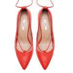 Follafe Kırmızı Kadın Deri Klasik Ayakkabı 2010047999007