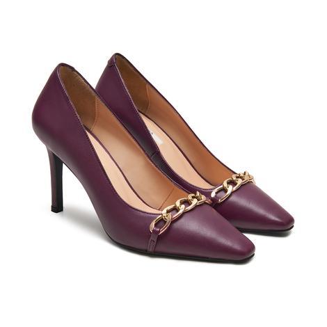 Renee Mor Kadın Zincir Detaylı Deri Klasik Ayakkabı 2010048018008