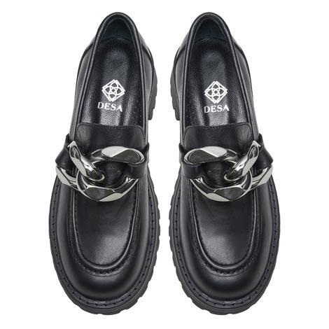 Janina Siyah Kadın Zincir Detaylı Deri Günlük Ayakkabı 2010048209003